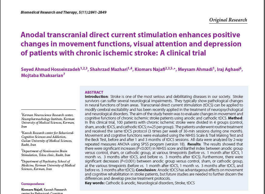 Anodal transcranial direct current stimulation enhances positive changes in movement functions, visual attention and depression of patients with chronic ischemic stroke: A clinical trial