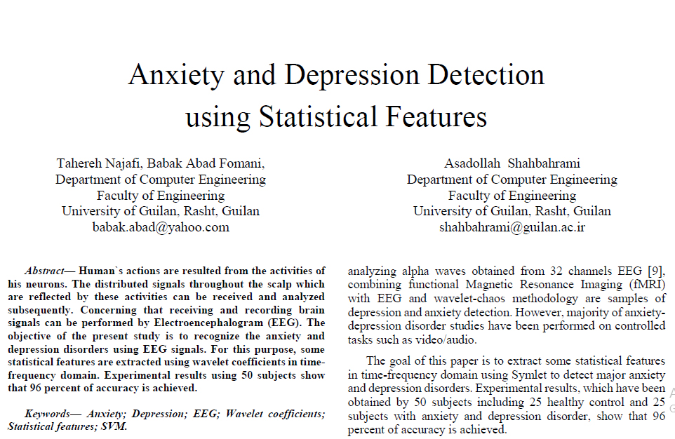 Anxiety and Depression Detection using Statistical Features